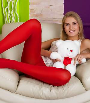 Nylons X - Girl in red nylons gets her tight asshole stuffed