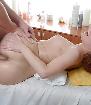 TrickyMasseur.com - Beautiful redhead offers her hairy slit to get it massaged